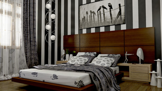 20 bedroom ideas with striped walls home design lover for Striped bedroom walls