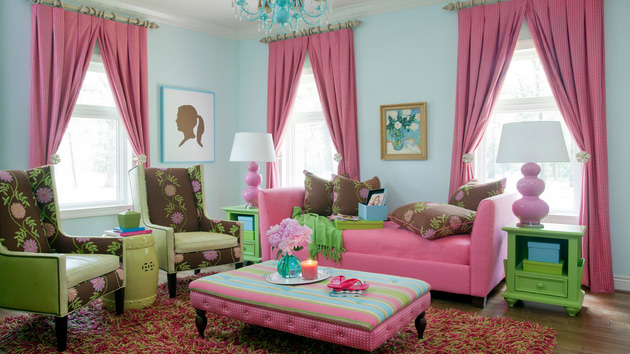 15 pretty in pink living room designs home design lover for Como pintar la sala de mi casa