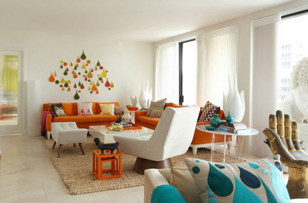 orange living rooms