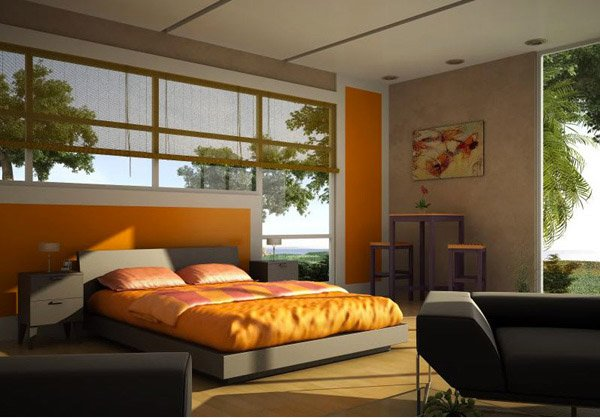 15 orange bedroom designs home design lover. Black Bedroom Furniture Sets. Home Design Ideas