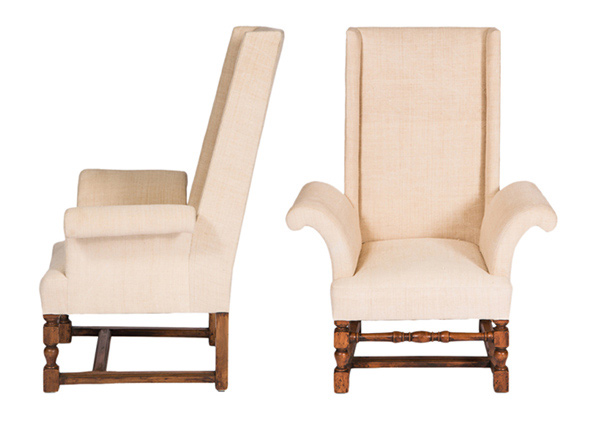 linen upholstered armchairs