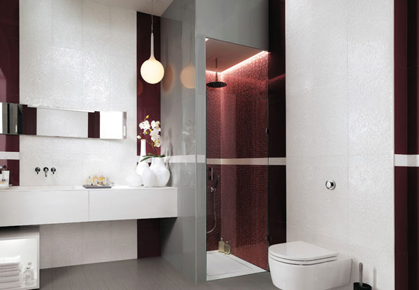 maroon shower room
