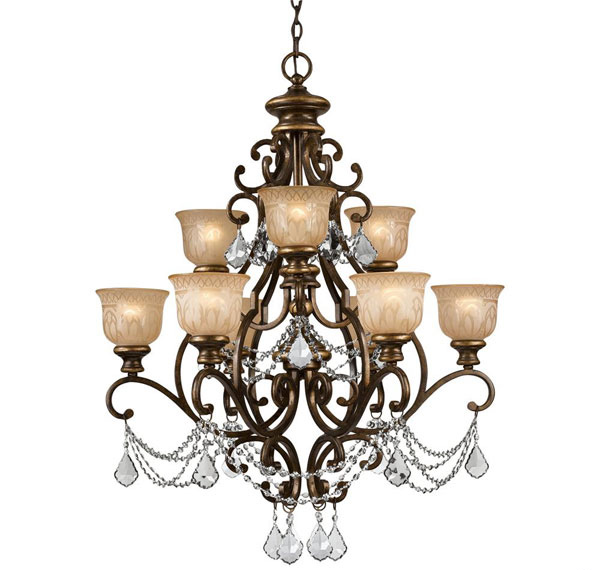 Amber Glass Pattern Wrought Iron Chandelier