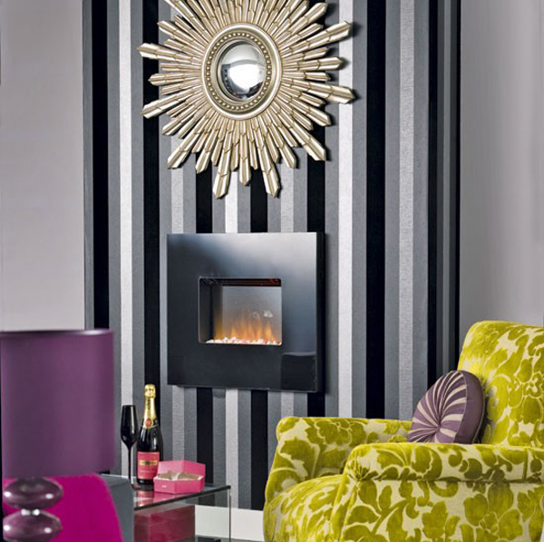 dramatic velvet stripe wallpaper