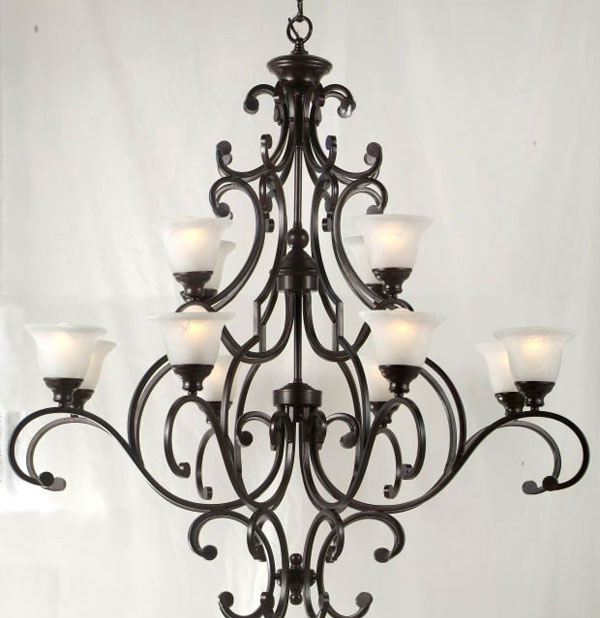 G84-513/12 Wrought Iron Chandelier