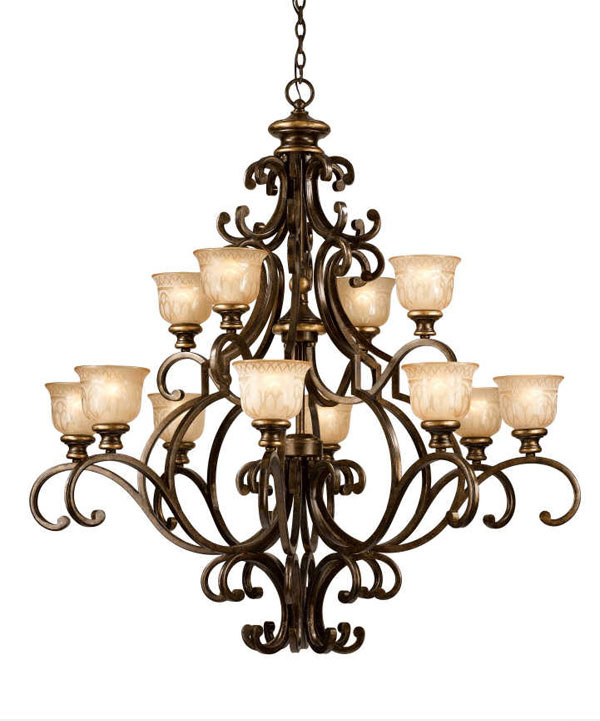 12 Light Wrought Iron Chandelier