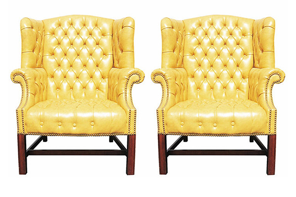 yellow seats - 15 Antique Wingback Chairs In Plain Colors Home Design Lover