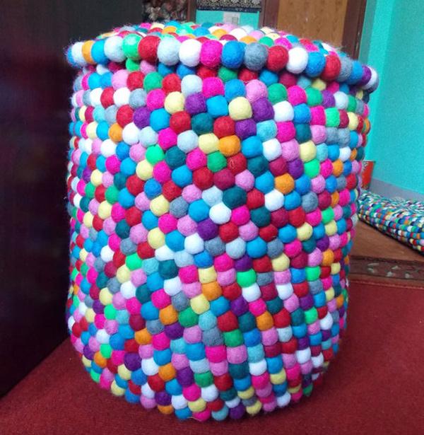 felt ball pouf