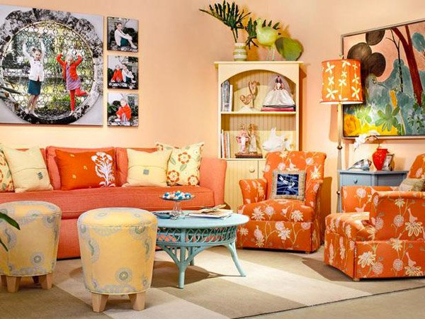 15 Close to Fruity Orange Living Room Designs | Home Design Lover