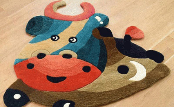Colorful Cow Rug