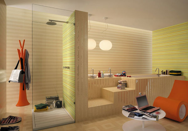 stripe shower room