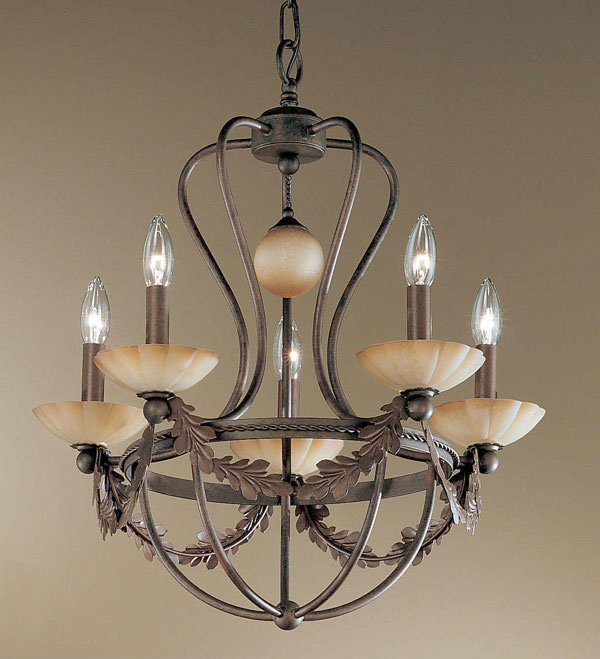 5-Light Wrought Iron Chandelier with Rustic Bronze finish