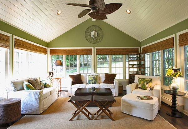 15 interiors with high ceilings home design lover for Large windows for sunroom