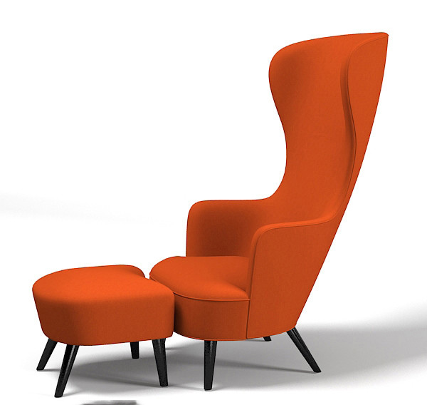 orange modern wingback