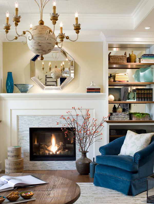 15 lovely and stylish living room fireplaces home design lover for Candice olson living room designs
