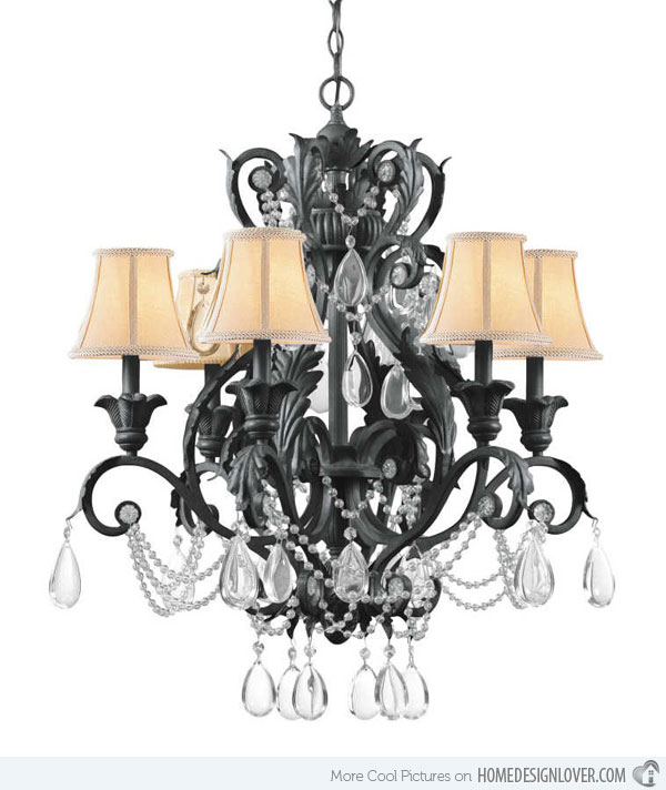 6 Light Wrought Iron Crystal Chandelier with Dark Rust finish