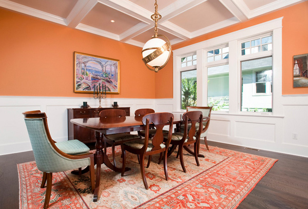 15 Lively Orange Living Room Design Ideas: 15 Catchy Orange Dining Room Designs