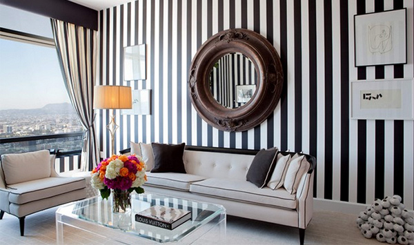 15 Striped Walls Living Room Designs | Home Design Lover