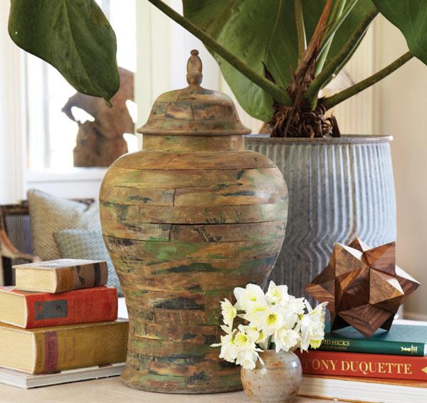 Antiqued Ginger Jar - Pine Wood