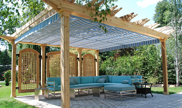 striped fabric. ShadeFX Canopies & 15 Cozy Outdoor Spaces with Fabric Canopy | Home Design Lover