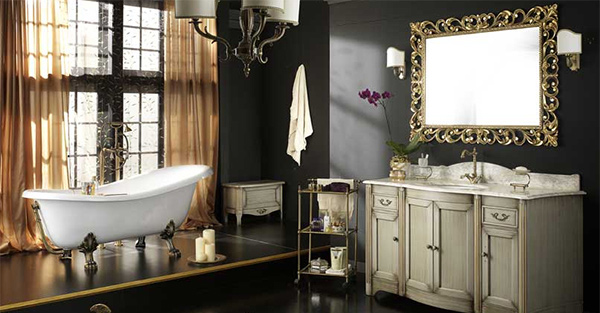 light gray vanity