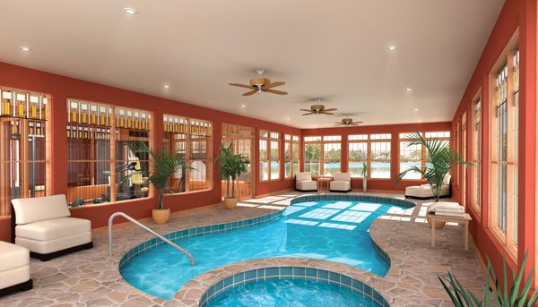 residential indoor lap pool. glass windows residential indoor lap pool l