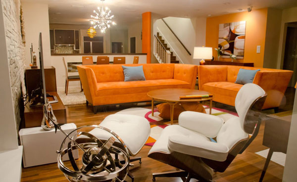 orange couch set