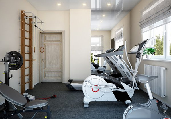 15 cool home gym ideas home design lover. Black Bedroom Furniture Sets. Home Design Ideas