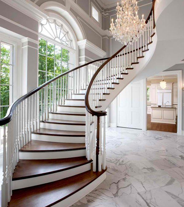 15 residential staircase design ideas home design lover for Arched staircase