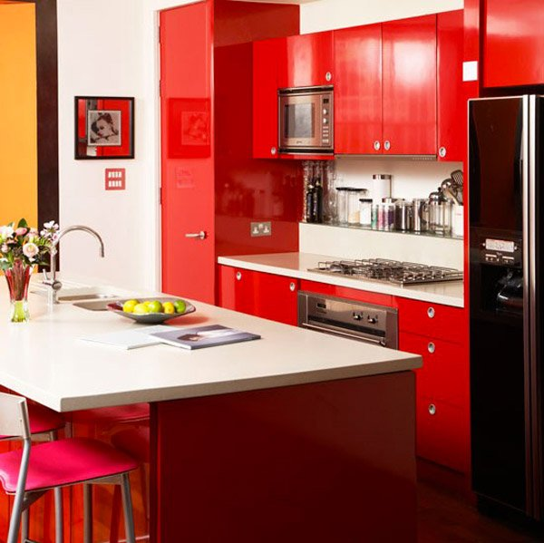 Extremely Hot Red Kitchen Cabinets Home Design Lover - Red and grey kitchen cabinets