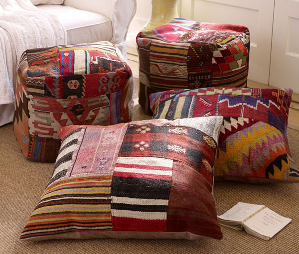 Patchwork Stripe Floor Pillow Cover