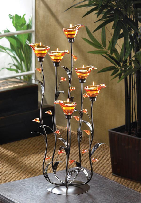 Amber Calla Lily Flower Bunch Tealight Candle Holder