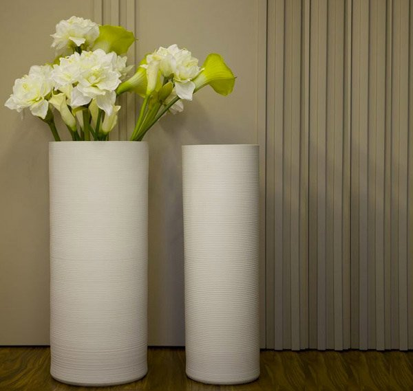 White Ceramic Floor Vase