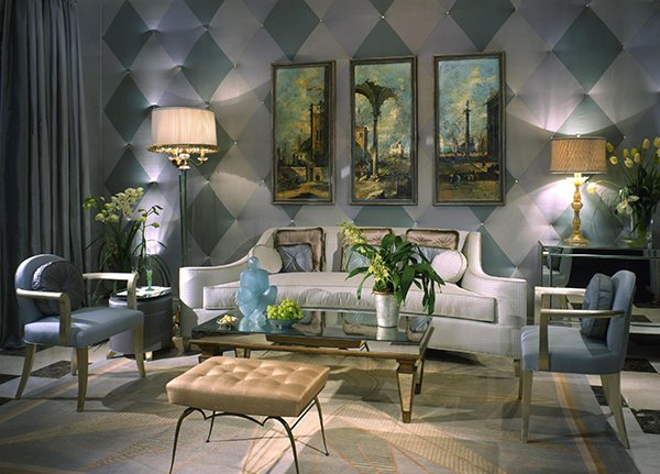 Charming Venetian Inspired Art Deco Living Room