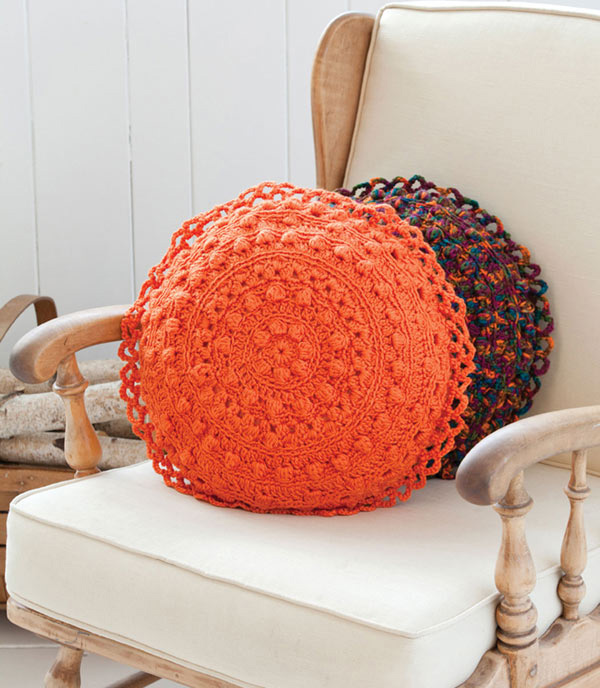 Puff Stitch Round Pillows Crochet Pattern