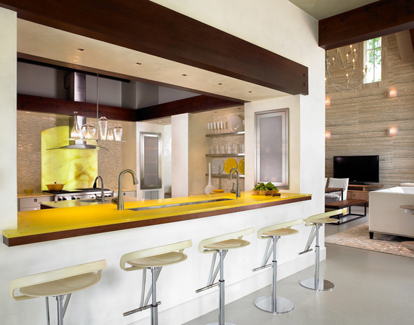 yellow kitchen counters