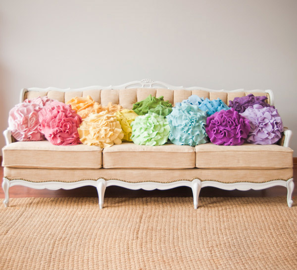 Custom Color Ruffle Rose Pillow