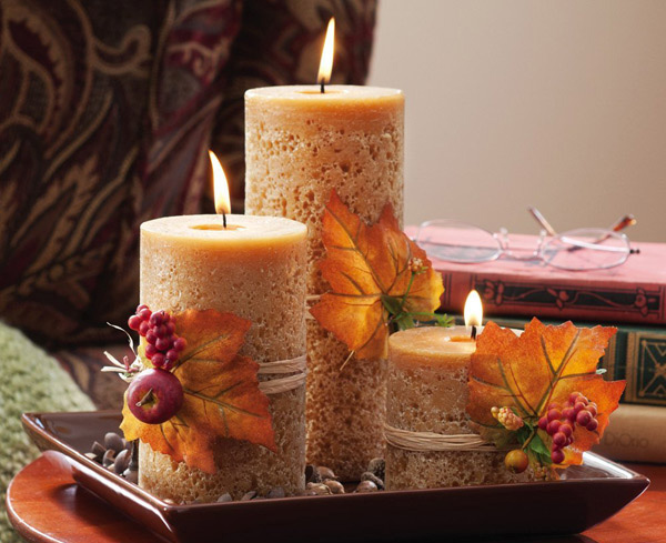 Autumn Harvest Cinnamon Scent Pillar Candlescape