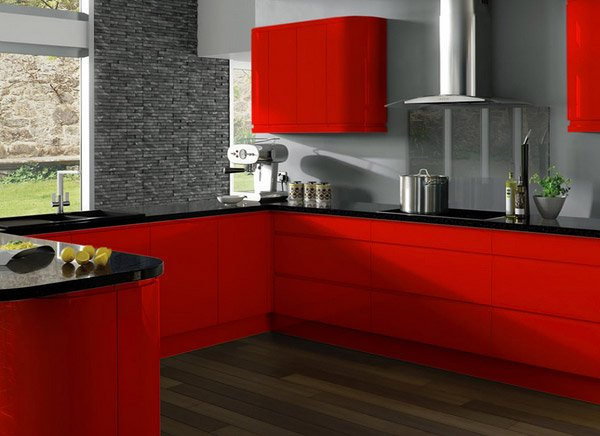 15 extremely hot red kitchen cabinets home design lover for Dark red kitchen cabinets