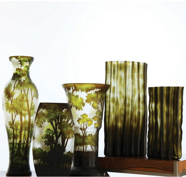 Landscapes S/3 Etched Vases Hand Blown Glass