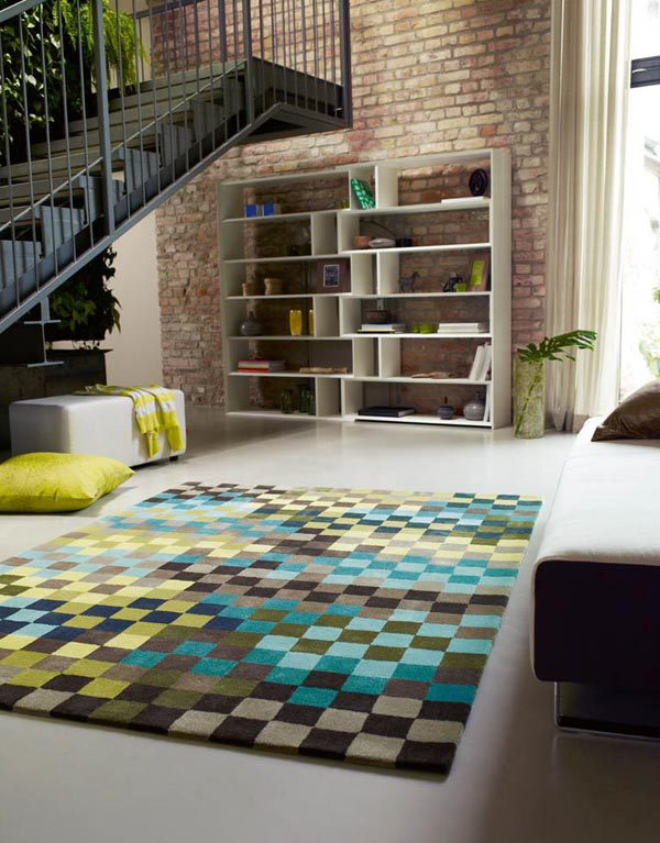 Pixel Green / Blue / Taupe Rugs