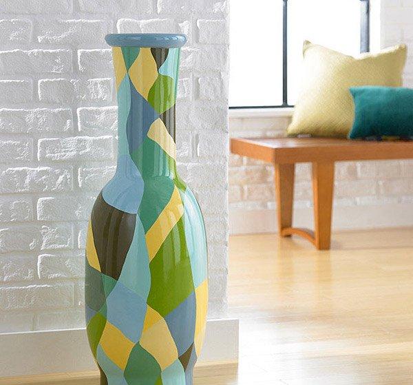 Small Patchwork Round Decorative Vase