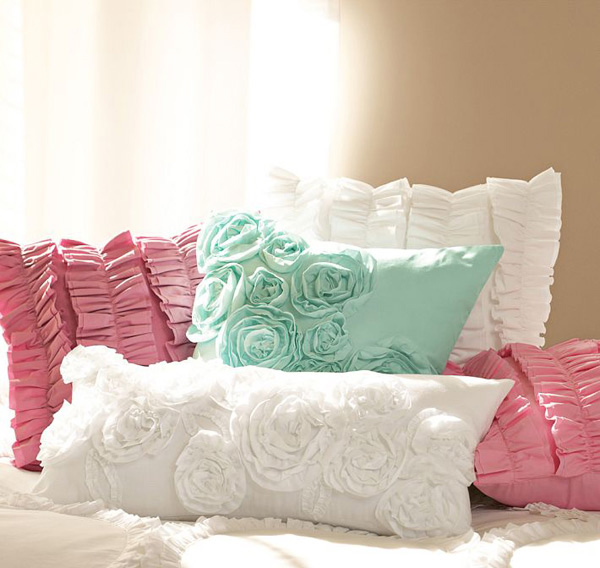Ruffle & Rose Lumbar Pillow Cover