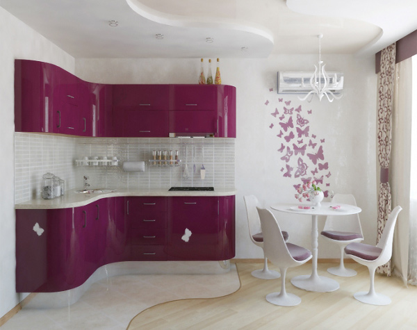 pink modular kitchen