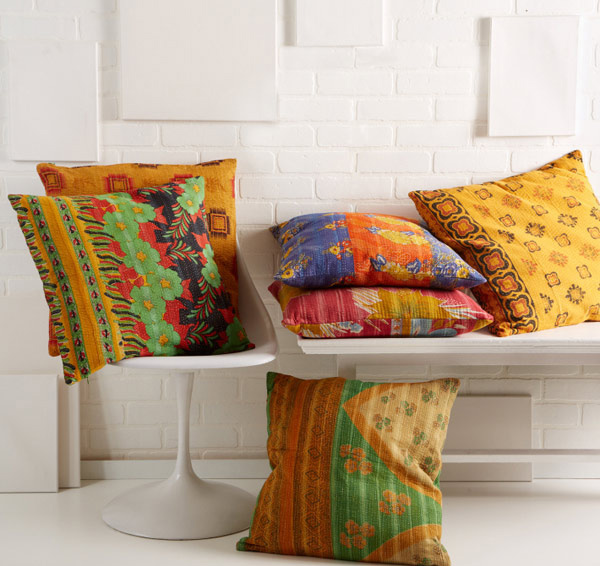 Kantha Hand-stitched Pillow Assorted Designs