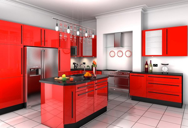 15 extremely hot red kitchen cabinets home design lover - Black red and white kitchen designs ...