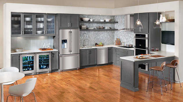 Warm And Grey Kitchen Cabinets Home Design Lover - Dark grey kitchen units