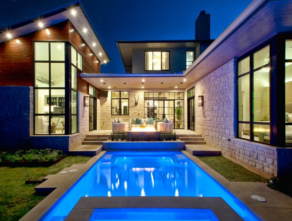 15 lovely swimming pool house designs home design lover for Swimming pool design for home