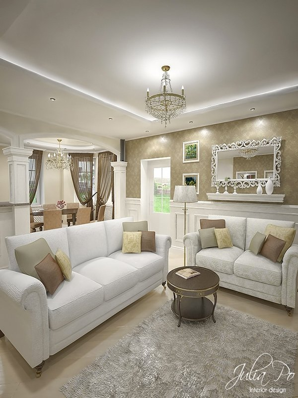 White Living Room Sofa. Beige House