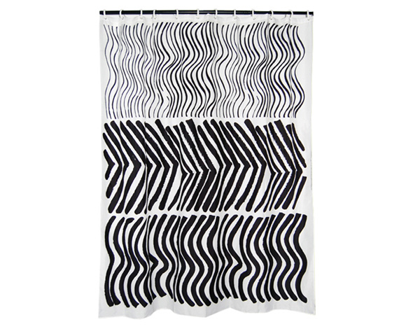 Silkkikuikka Black & White Long Polyester Shower Curtain